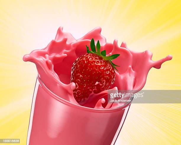 strawberry milk splash - strawberry milkshake and nobody stock pictures, royalty-free photos & images