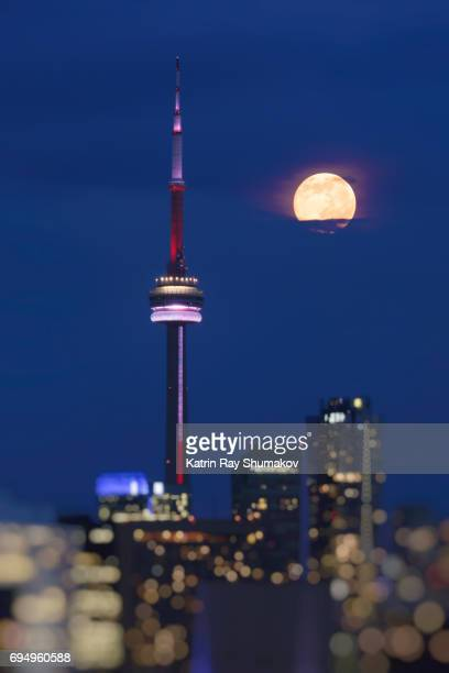 strawberry moon in blue dreams of toronto - pink moon stock pictures, royalty-free photos & images