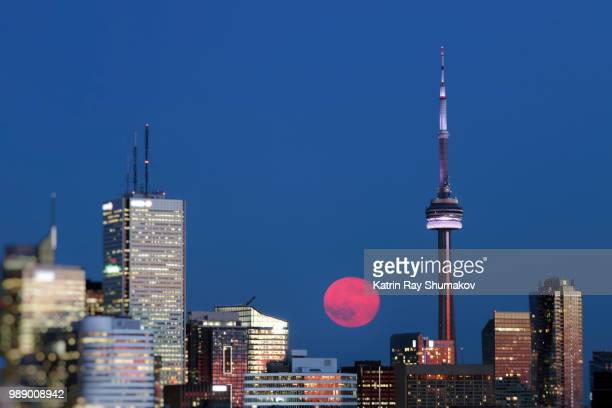strawberry moon in blue toronto - cn tower stock pictures, royalty-free photos & images
