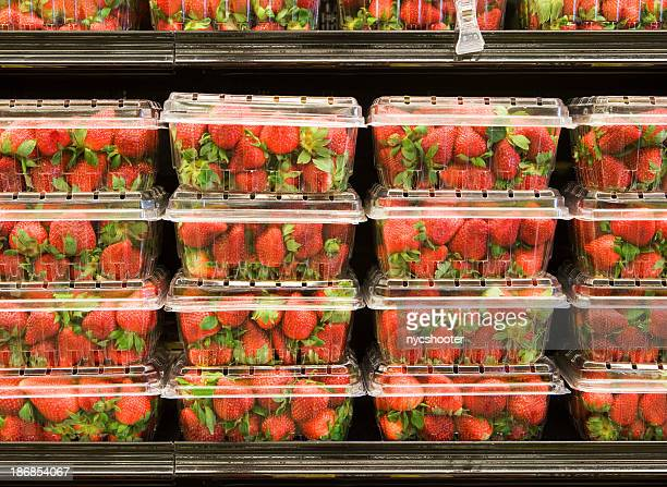 Strawberry on supermarket shelf