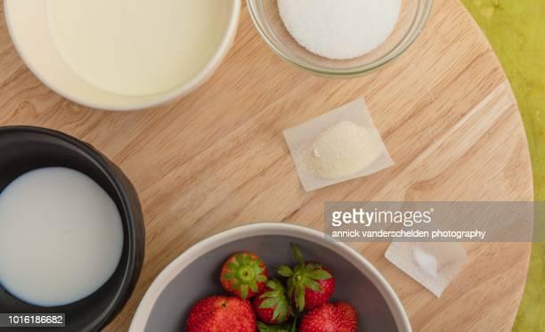 Strawberry panna cotta ingredients