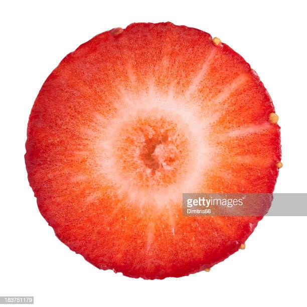 strawberry portion on white - cross section stock pictures, royalty-free photos & images