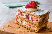 Strawberry puff mille-feuille with strawberry.