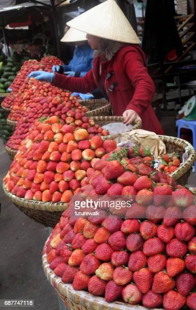 Erdbeer-Verkauf, Da Lat, Vietnam