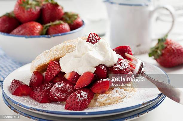 Strawberry Shortcake with Bowl of Strawberries