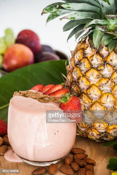 Strawberry Smoothie and Pineapple Still Life