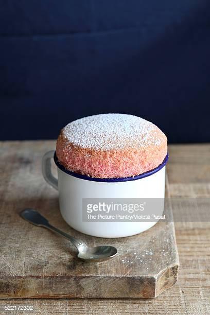 Strawberry souffle in enamel mug
