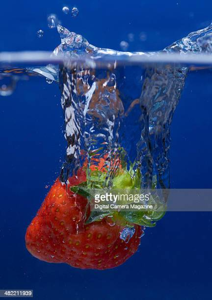 A strawberry splashing into clear water taken on August 5 2013