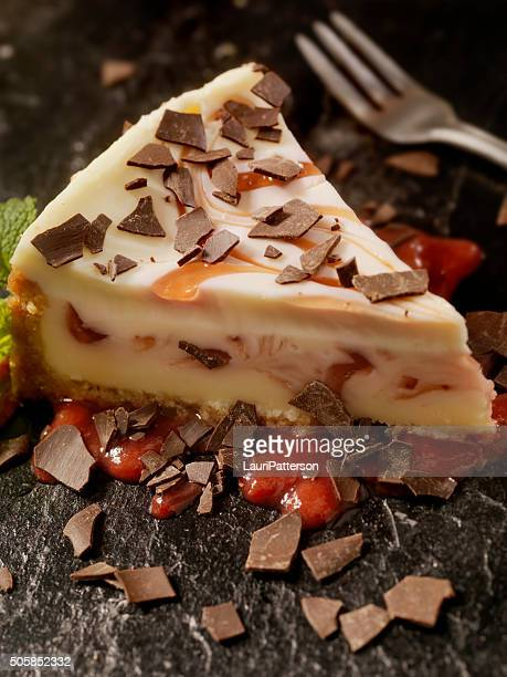 Strawberry Swirl Cheesecake with Chocolate Flakes