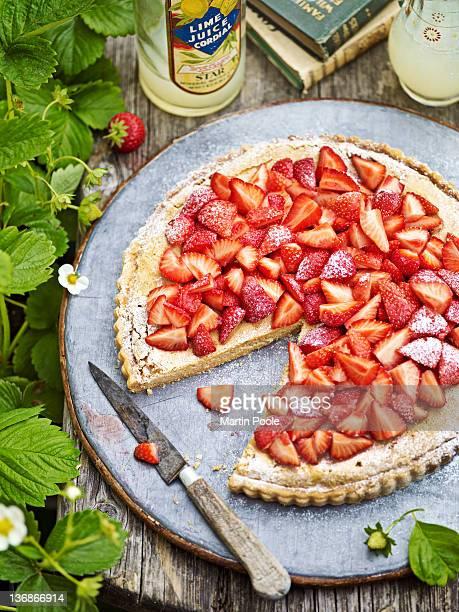 strawberry tart on table outside