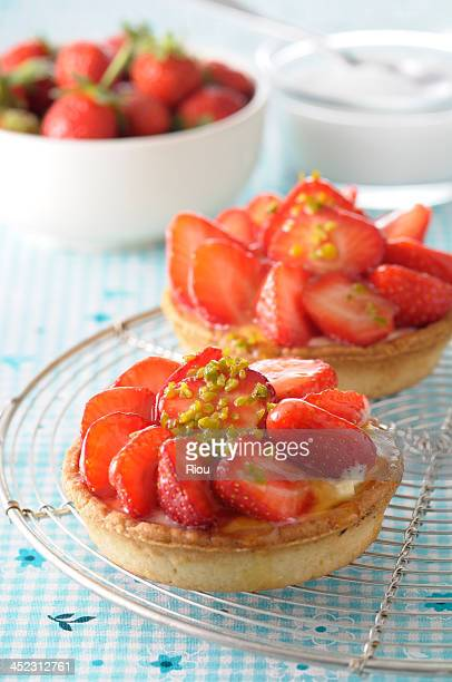 strawberry tart with pistachio