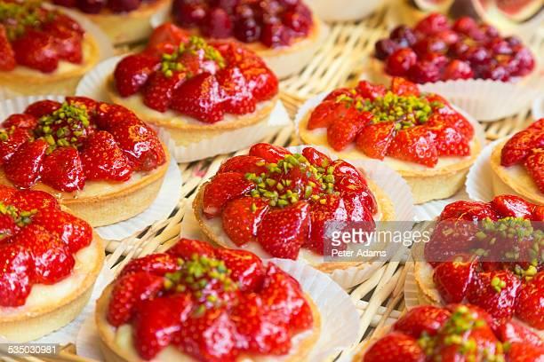 Strawberry tarts, Patisserie, Paris, France