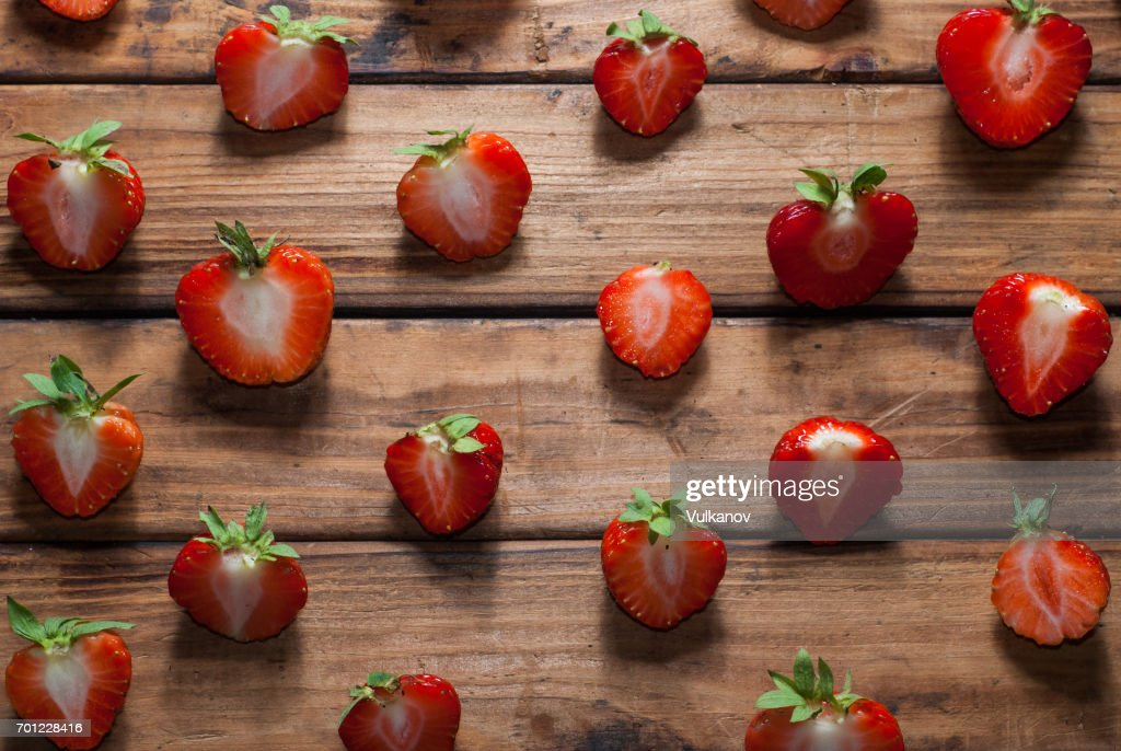 Strawberry Template On Wooden Background Stock Photo | Getty Images