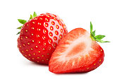 Strawberry with sliced half  isolated on white background