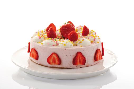 Strawberry-cream cake, close-up - gettyimageskorea