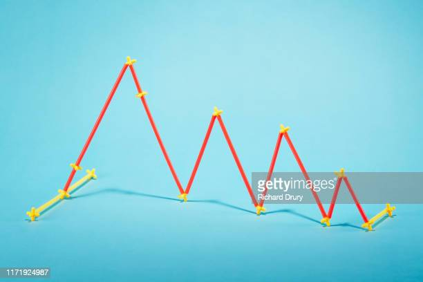 straws arranged into a falling graph - decline stock pictures, royalty-free photos & images