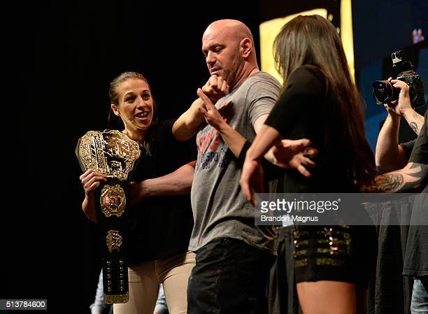 UFC strawweight champion Joanna Jedrzejczyk and Claudia Gadelha face off during the UFC Unstoppable Launch Press Conference in the MGM Grand Garden...