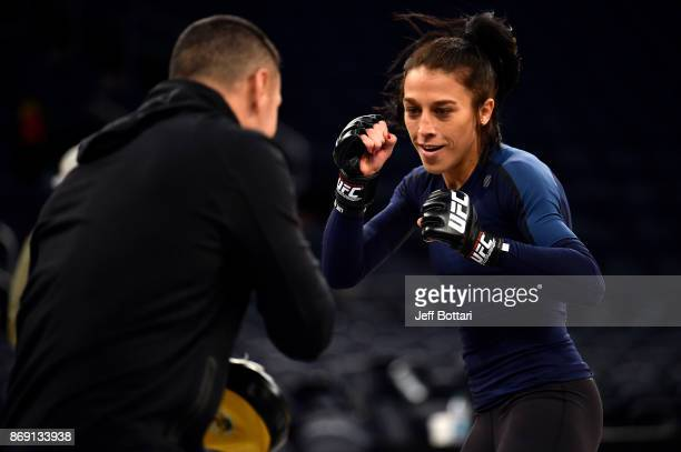 Strawweight Champion Joanna Jedrzejczyk holds an open workout session with fans and media inside Madison Square Garden on November 1, 2017 in New...