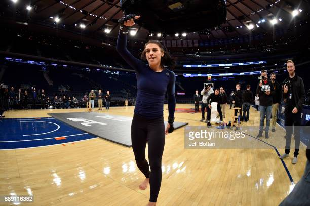 Strawweight Champion Joanna Jedrzejczyk of Poland holds an open workout session for fans and media inside Madison Square Garden on November 1, 2017...