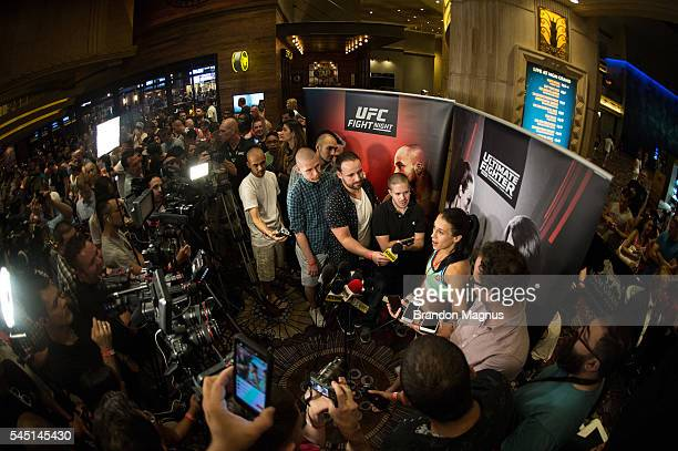UFC strawweight champion Joanna Jedrzejczyk speaks to the media at at MGM Grand Hotel Casino on July 5 2016 in Las Vegas Nevada
