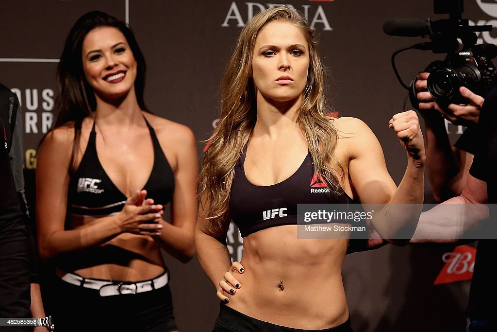 UFC Strawweight Champion Ronda Rousey of the United States poses for photographers during the UFC 190 Rousey v Correia weigh-in at HSBC Arena on July 31, 2015 in Rio de Janeiro, Brazil.