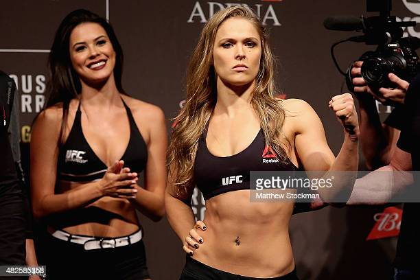 Strawweight Champion Ronda Rousey of the United States poses for photographers during the UFC 190 Rousey v Correia weighin at HSBC Arena on July 31...