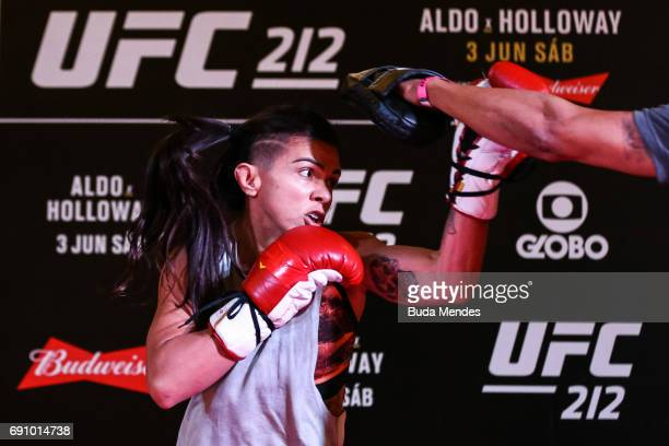 UFC strawweight contender Claudia Gadelha of Brazil holds an open training session at Barra Shopping on May 31 2017 in Rio de Janeiro Brazil