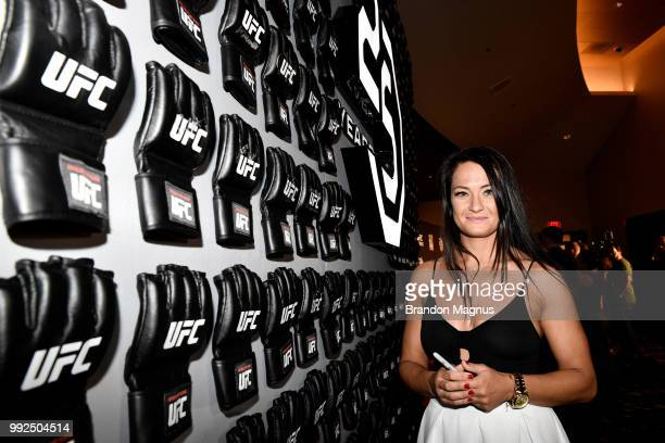 UFC strawweight fighter Karolina Kowalkiewicz of Poland poses for a photo prior to the UFC Hall of Fame Class of 2018 Induction Ceremony inside The...