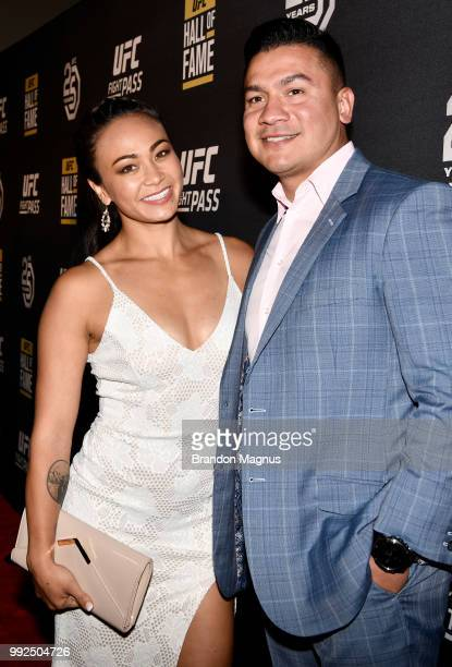 UFC strawweight fighter Michelle Waterson and husband Joshua Gomez pose for a photo prior to the UFC Hall of Fame Class of 2018 Induction Ceremony...