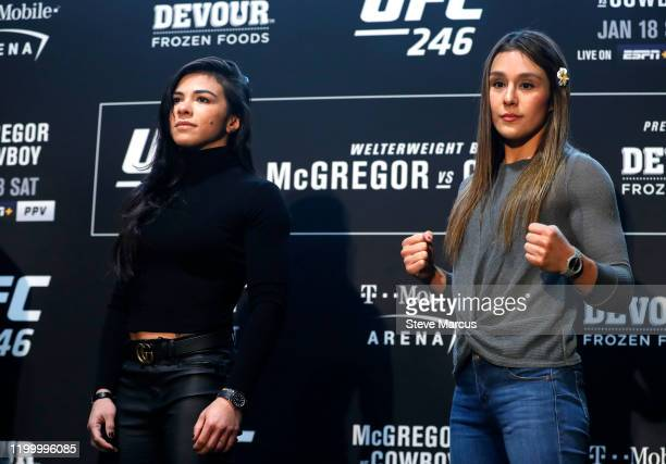 Strawweight fighters Claudia Gadelha and Alexa Grasso pose during the UFC 246 Ultimate Media Day on January 16 2020 in Las Vegas Nevada