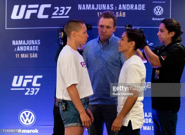UFC strawweight fighters Rose Namajunas of the United States and Jessica Andrade of Brazil face off during Ultimate Media Day on May 09 2019 in Rio...