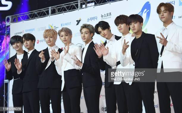 Stray Kids attends 2019 Soribada Best K-Music Awards at Olympic Park KSPO DOME in Seoul, South Korea.