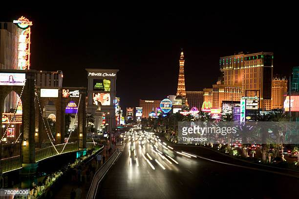 Streaked lights on the streets and city lights at night in Las Vegas, Nevada