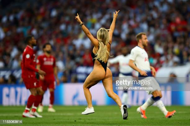 A streaker enters the pitch during the UEFA Champions League Final between Tottenham Hotspur and Liverpool at Estadio Wanda Metropolitano on June 01...