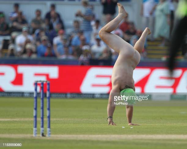 Image contain nudity A streaker invades the pitch during the ICC Cricket World Cup 2019 match between England and New Zealand at Emirates Riverside...