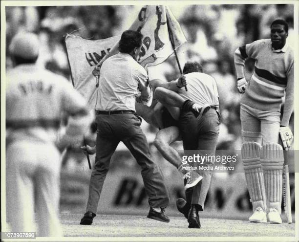 A streaker invades the SCG during the one day mach between Aust and the West Indies December 13 1988