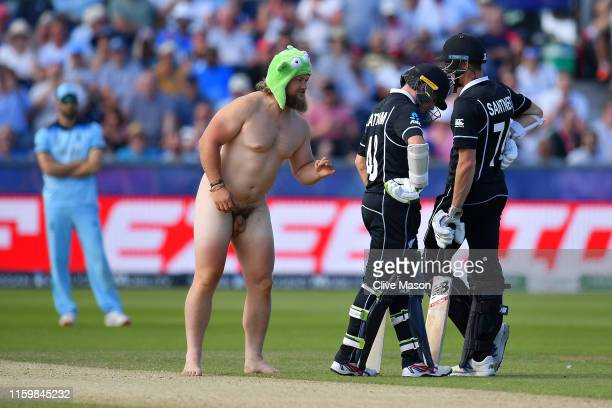 A streaker is seen during the Group Stage match of the ICC Cricket World Cup 2019 between England and New Zealand at Emirates Riverside on July 03...