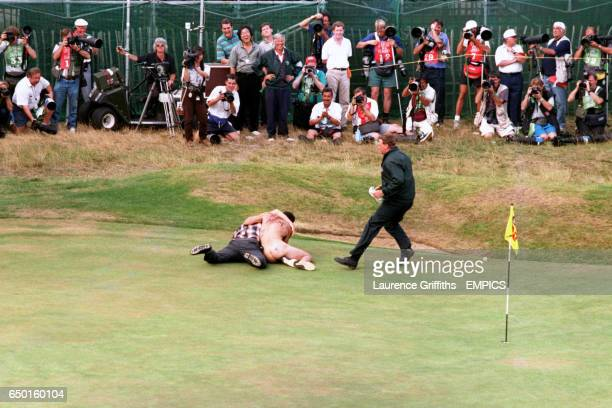 Streaker is stopped on the 18th Green at Royal Lytham