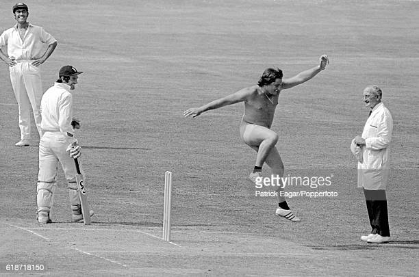 Streaker Michael Angelow jumps over the stumps during the 2nd Test match between England and Australia at Lord's Cricket Ground London 4th August...