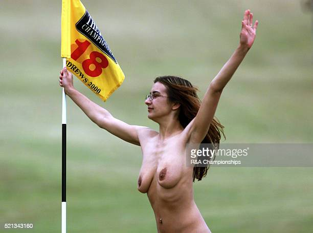 Best quality available Streaker on the 18th green at the Open Championships July 2000 at St Andrews in Scotland