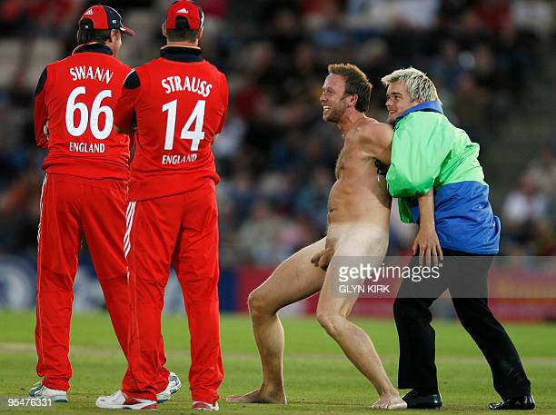 A streaker runs onto the pitch during England's third one day International match against Australia at the Rose Bowl Southampton England on September...