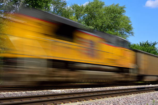 Streaking Locomotive and Train