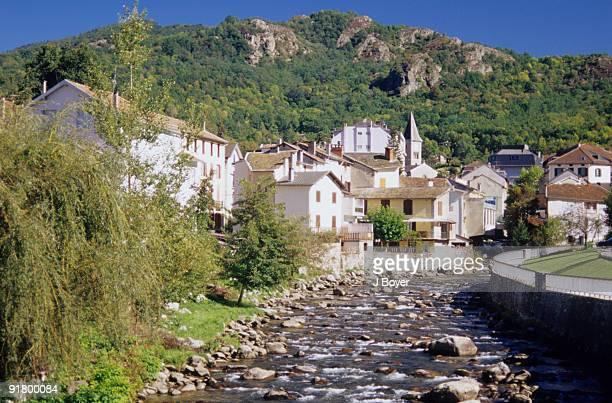 stream by rural village, ariege, france - アリエージュ ストックフォトと画像