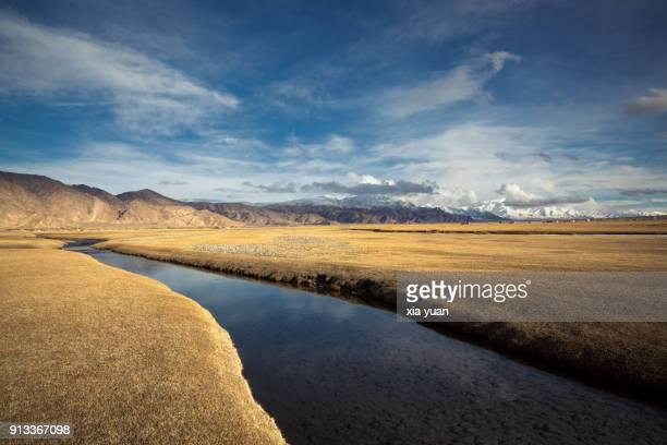 Stream flowing through the grassland on the Pamirs,Tashkurgan,China