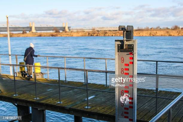 A stream gauge on the Vistula river is seen in Tczew Poland on 5 January 2020