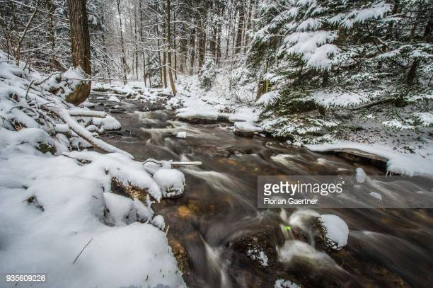 A stream is pictured in the winter on March 17 2018 in Liberec Czech Republic