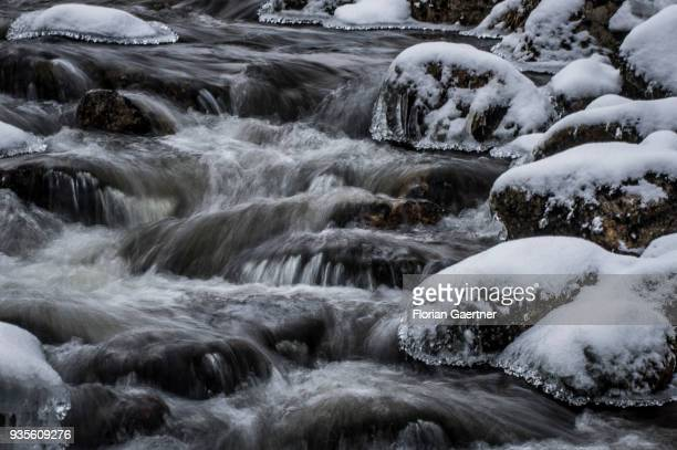 A stream is pictured with long exposure at winter on March 17 2018 in Liberec Czech Republic