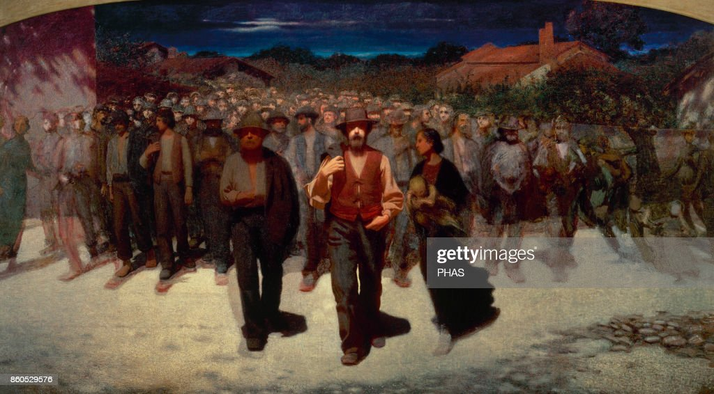 Stream of people (Fiumana), 1896 by Giuseppe Pellizza da Volpedo (1868-1907) : Fotografía de noticias