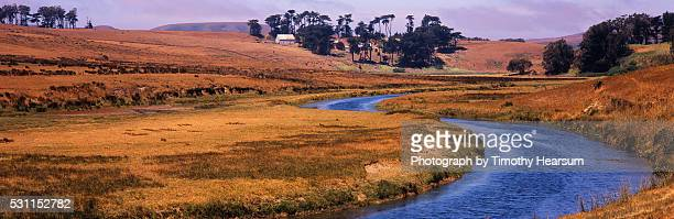 stream winding through pasture land - timothy hearsum stock pictures, royalty-free photos & images