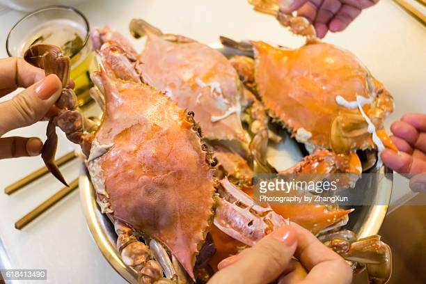 Streamed Blue Crab are ready to eat, Qingdao, Shandong, China.
